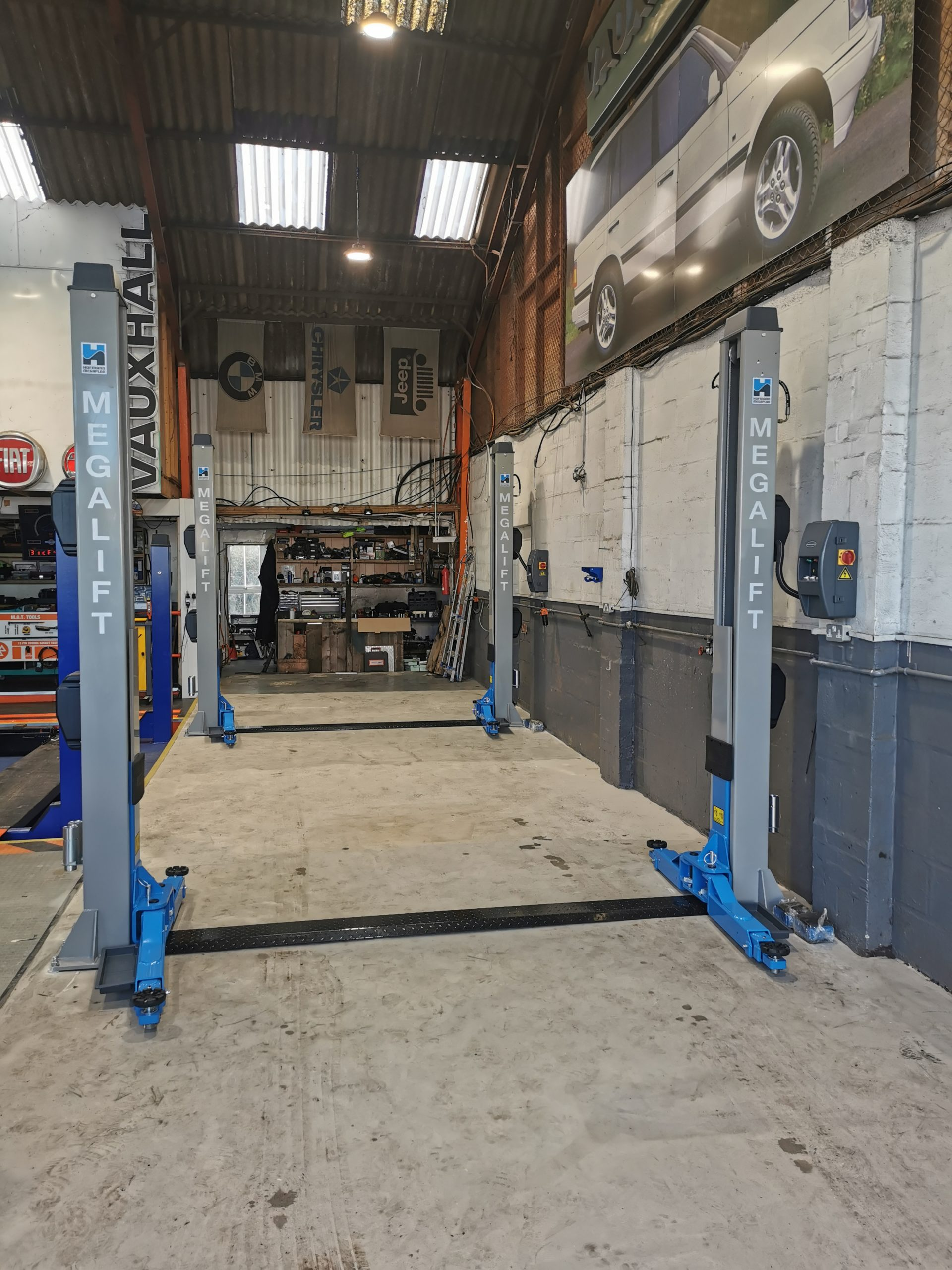 A clever garage lifting solution by our specialist installation engineers at Ace Tyres in Great Yarmouth.