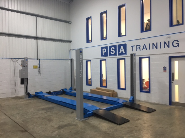 newly installed wheel alignment lift from Hofmann Megaplan, installed by ISN Garage Assist at Peterborough Skills Academy.