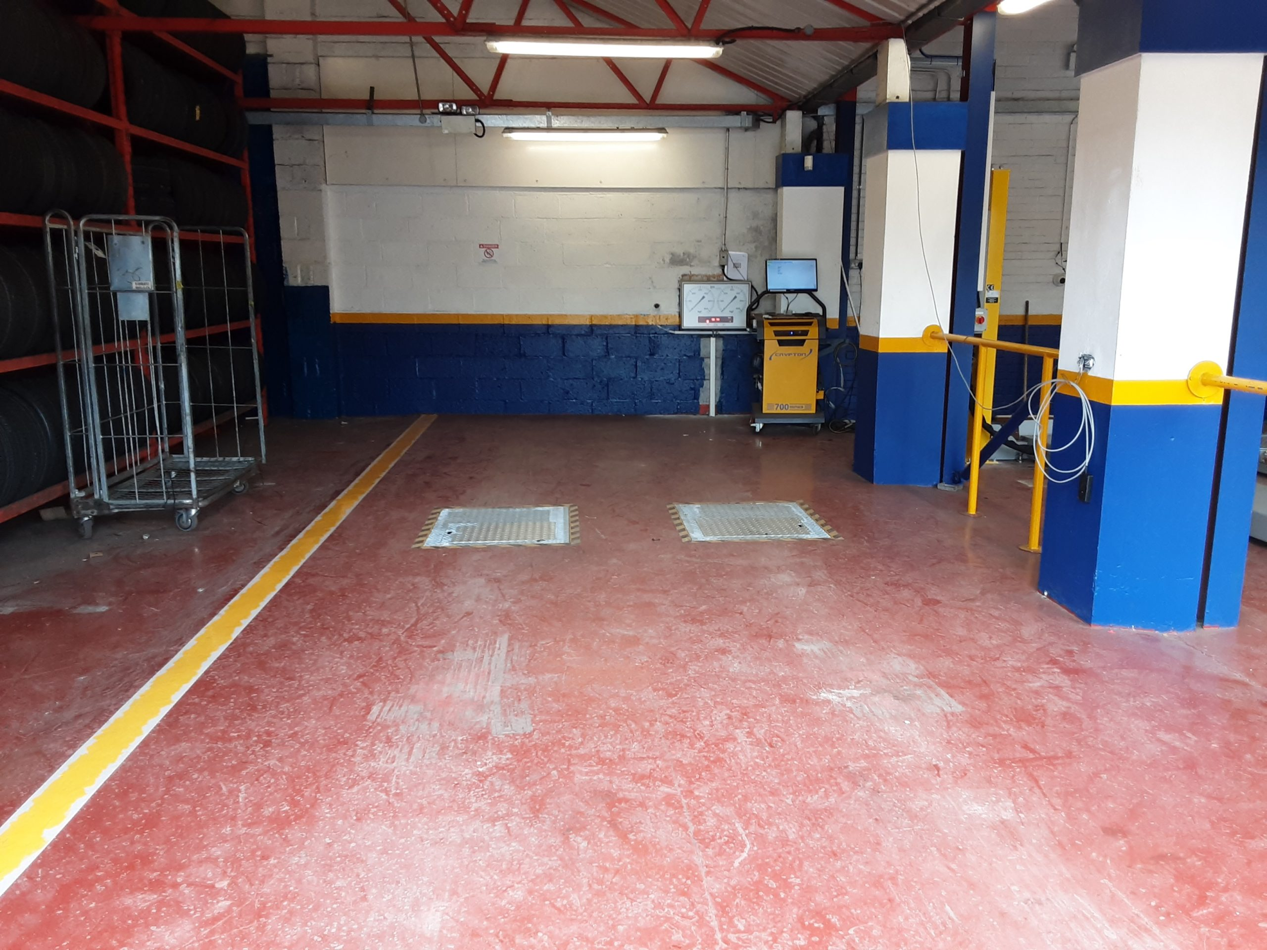 Due to the lack of space, the MOT Bay is side-by-side with the brake tester, which sits in a separate area to the lift.